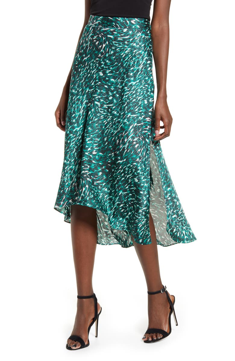 LEITH High/Low Bias Midi Skirt, Main, color, GREEN BUG SWIRL CAT