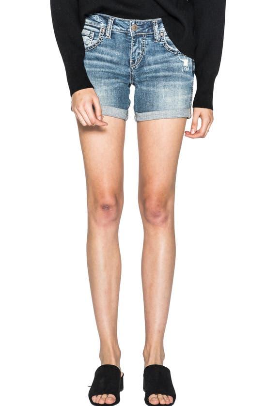 Silver Jeans Co. Distressed Boyfriend Denim Cutoff Shorts In Indigo