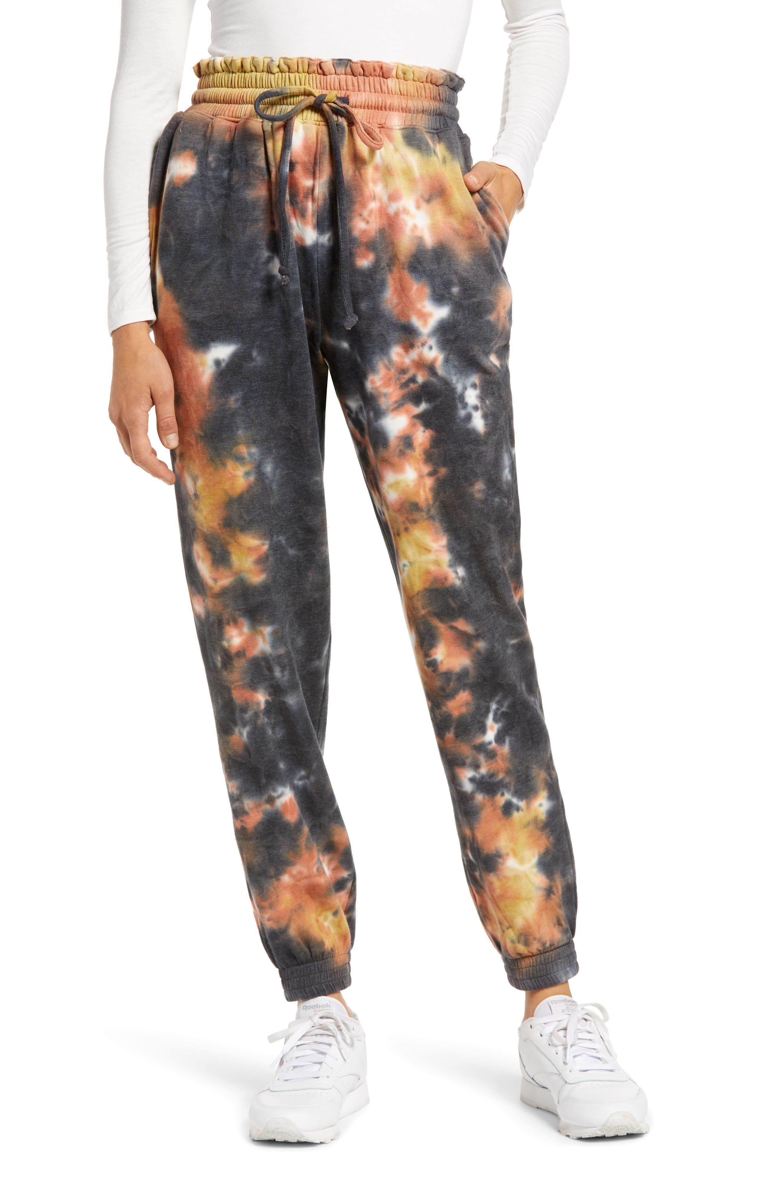 Women's Love, Fire Tie Dye Smocked Waist Sweatpants