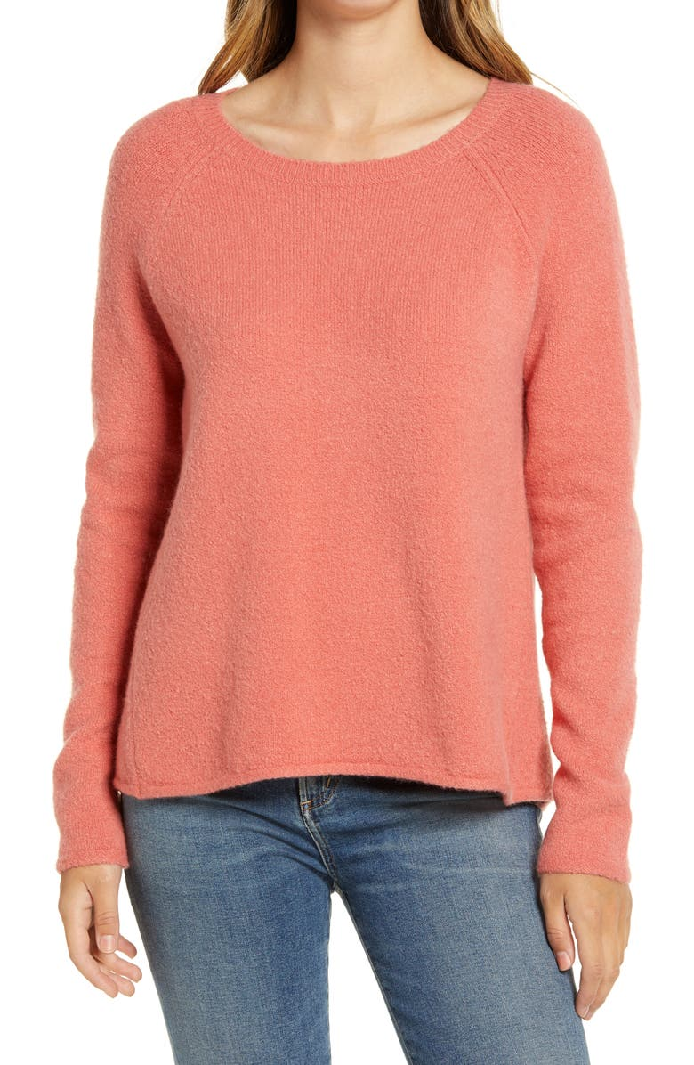 CASLON<SUP>®</SUP> Colorblock Sweater, Main, color, CORAL FADED