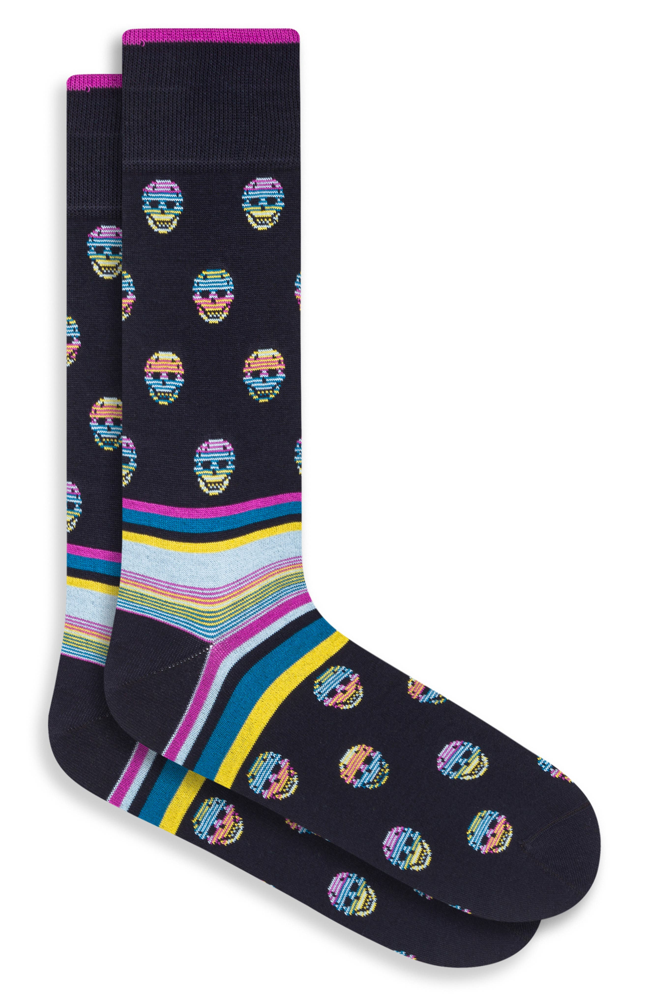 Colorful skulls grin about the superior comfort of stretchy cotton-blend socks that are destined to start conversations. Style Name: Bugatchi Skull Pattern Socks. Style Number: 6096580. Available in stores.