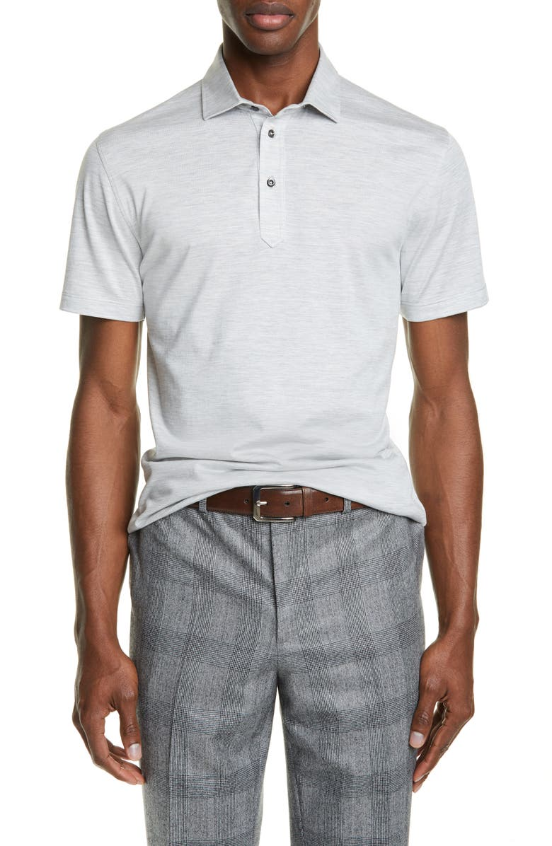 BRUNELLO CUCINELLI Silk & Cotton Polo Shirt, Main, color, PEARL GREY