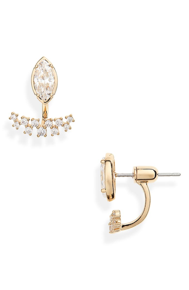 NADRI Mila Drop Back Earrings, Main, color, GOLD