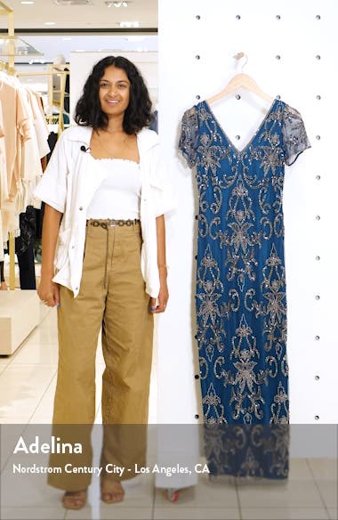 V-Neck Beaded Mesh Column Gown, sales video thumbnail