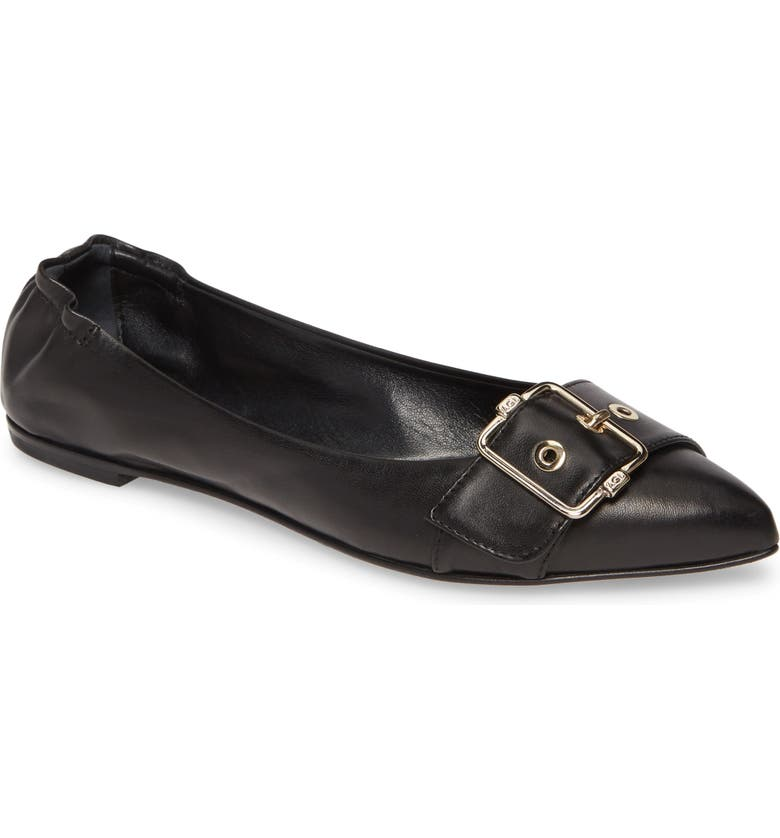 AGL Pointed Toe Ballet Flat, Main, color, BLACK LEATHER