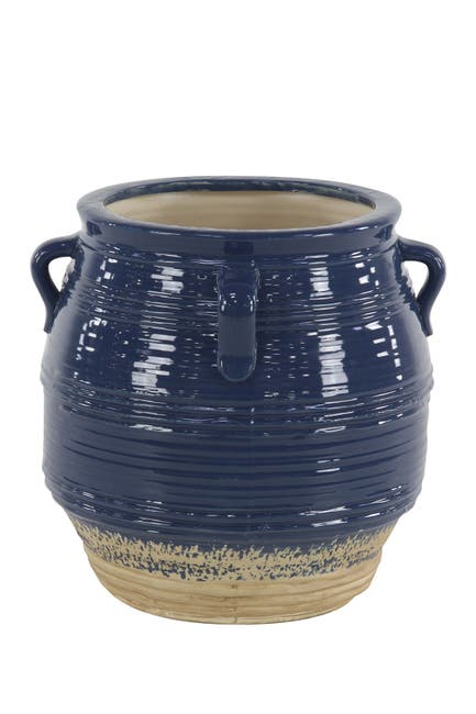 Image of Willow Row Black Modern Stoneware Pot