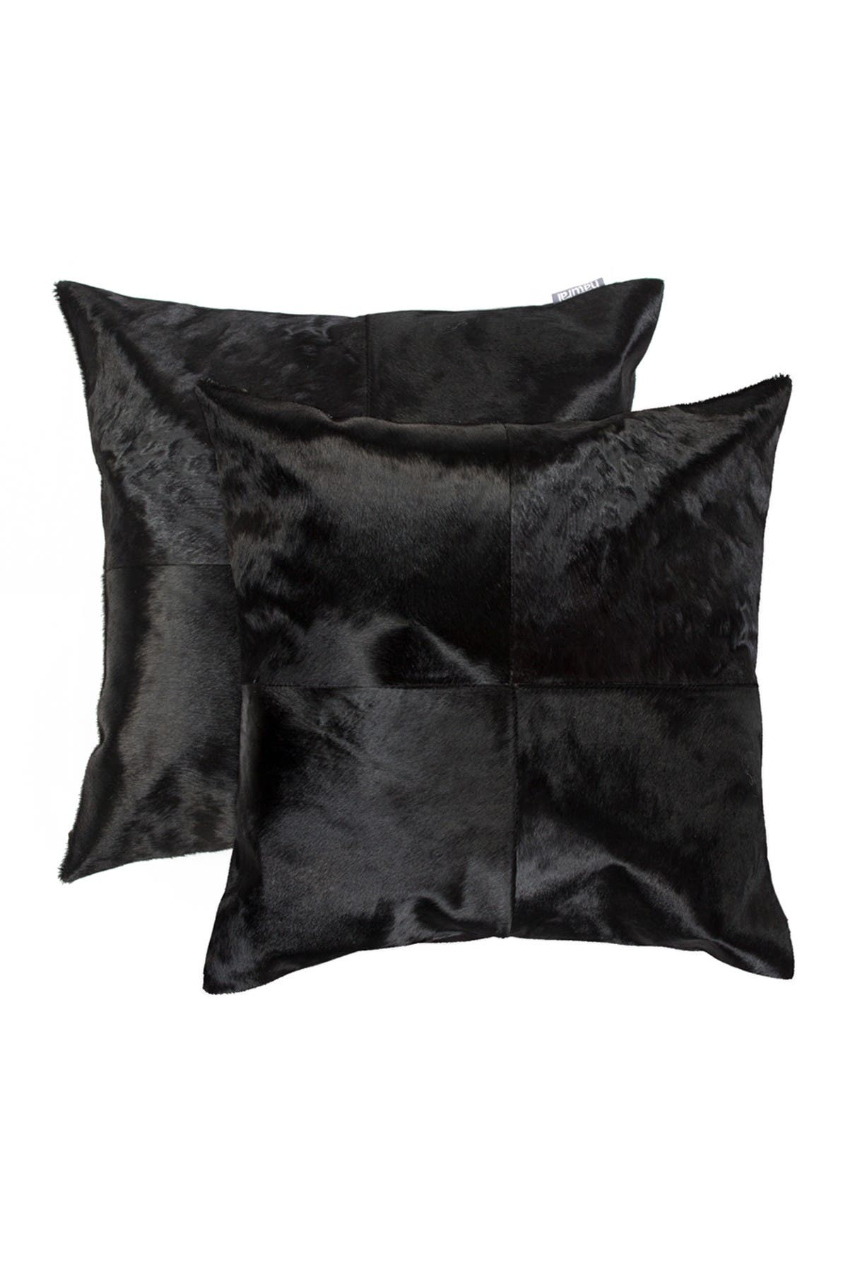 "Image of Natural Torino Quattro Genuine Cowhide Pillow - Set of 2 - 18""x18"" - Black"