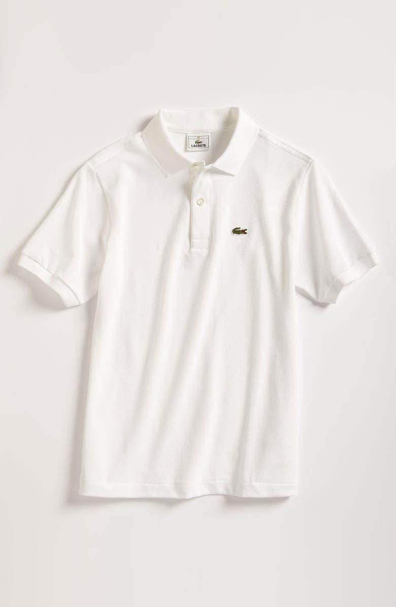 LACOSTE Short Sleeve Piqué Polo, Main, color, WHITE