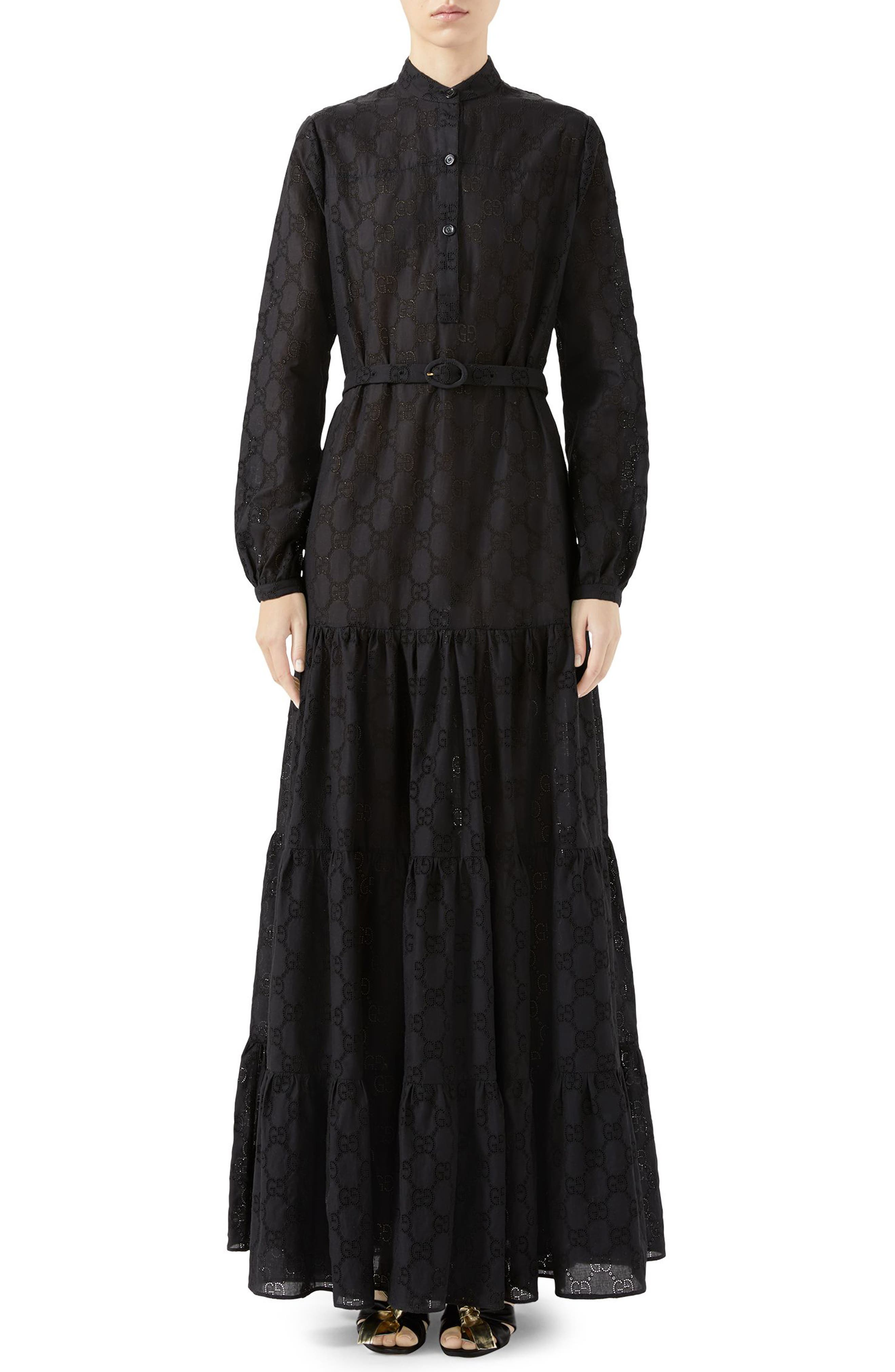 Gucci Micro Gg Broderie Anglaise Long Sleeve Maxi Dress, US / 44 IT - Black