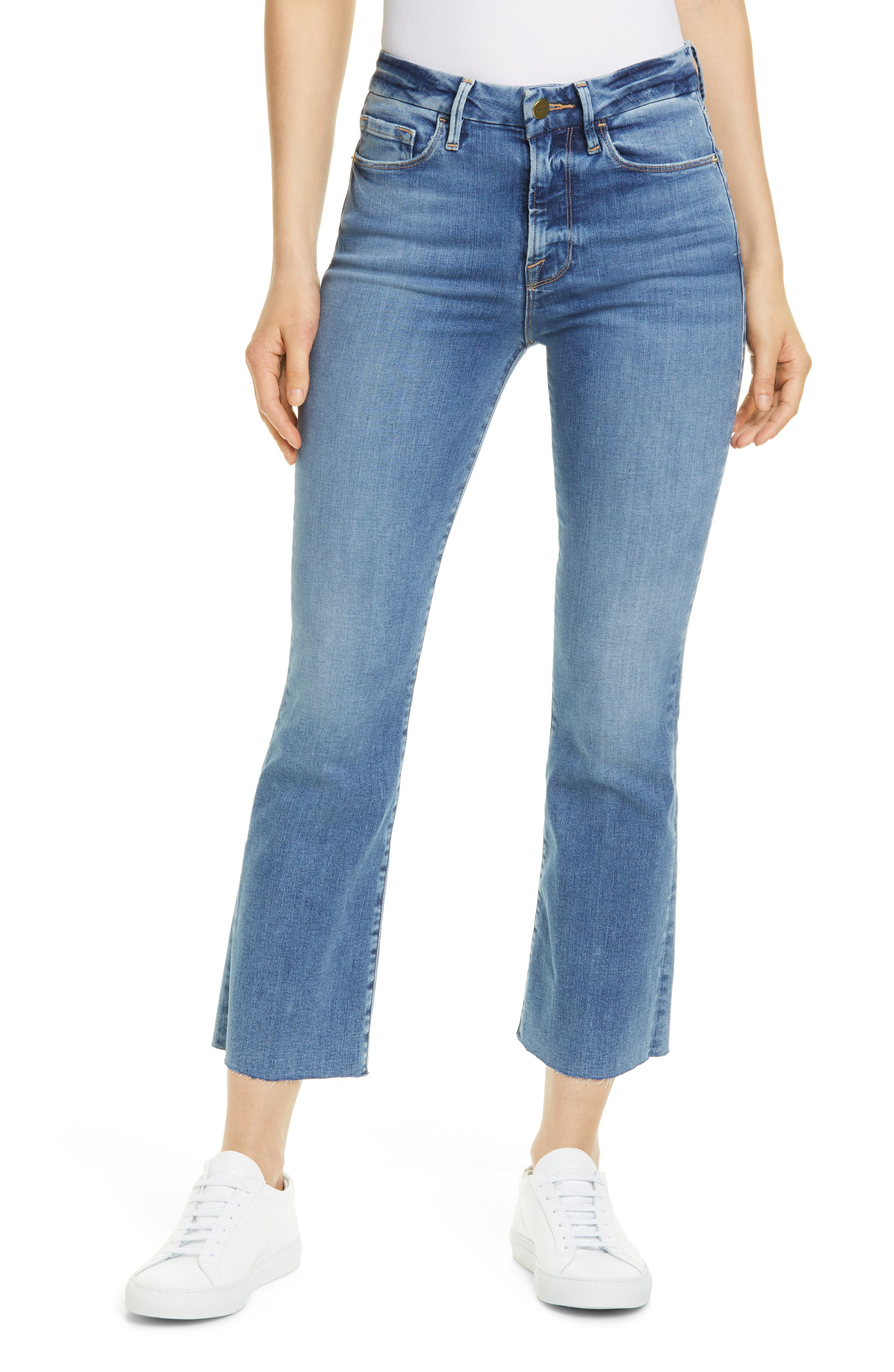 FRAME Le Crop High Waist Mini Boot Raw Edge Jeans (Flora)