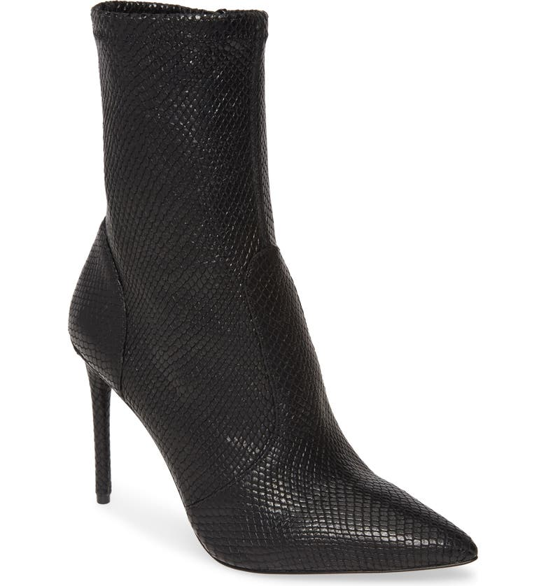 ALICE + OLIVIA Corby Pointy Toe Bootie, Main, color, BLACK