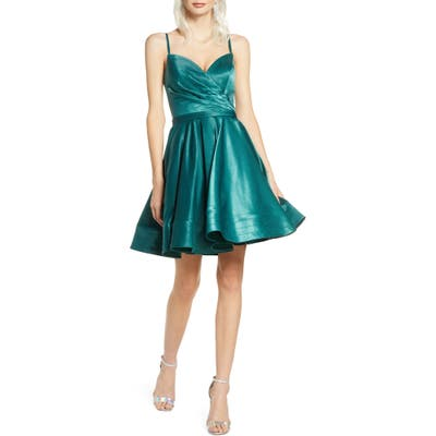 Ieena For MAC Duggal Satin Fit & Flare Party Dress, Green