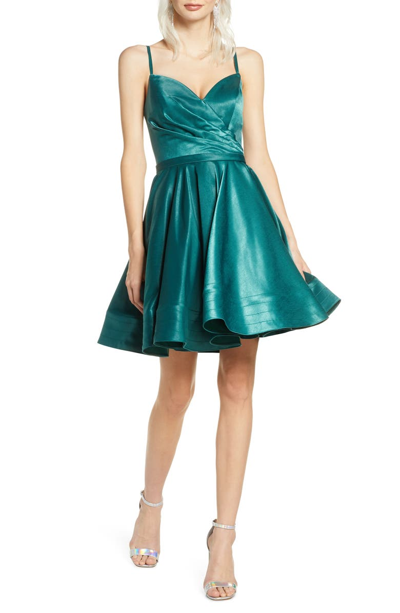 IEENA FOR MAC DUGGAL Satin Fit & Flare Party Dress, Main, color, EMERALD GREEN