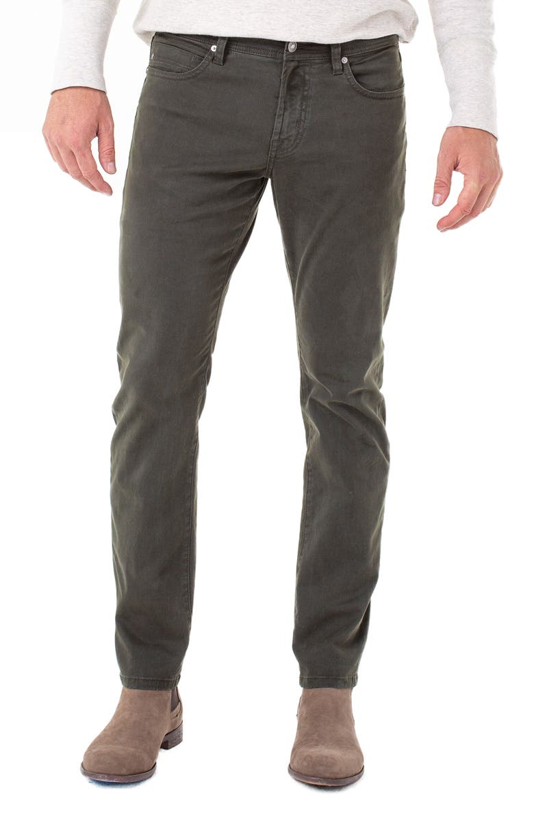 LIVERPOOL Kingston Slim Straight Leg Twill Pants, Main, color, OLIVE MULCH