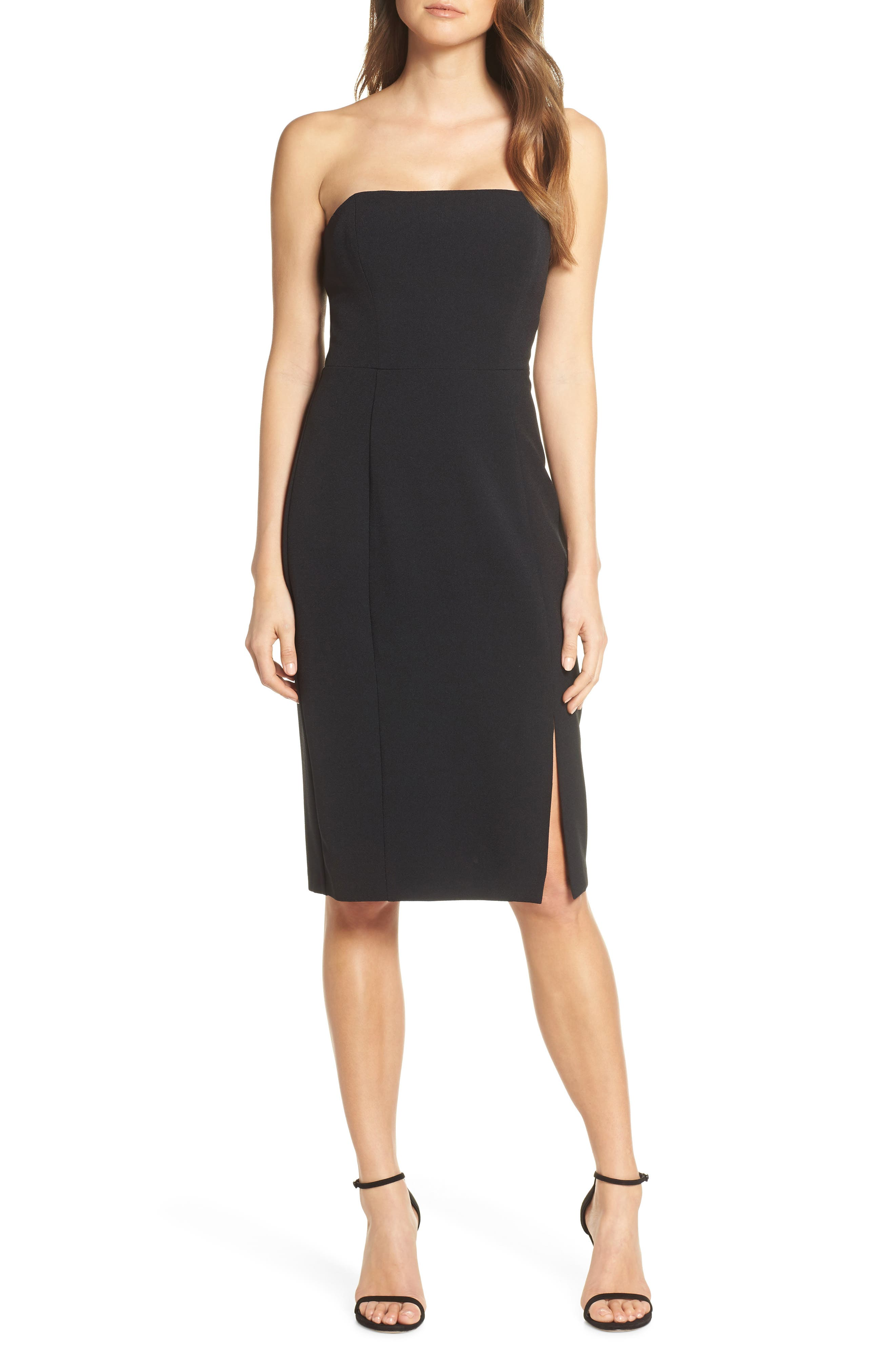 Eliza J Strapless Sheath Dress, Black