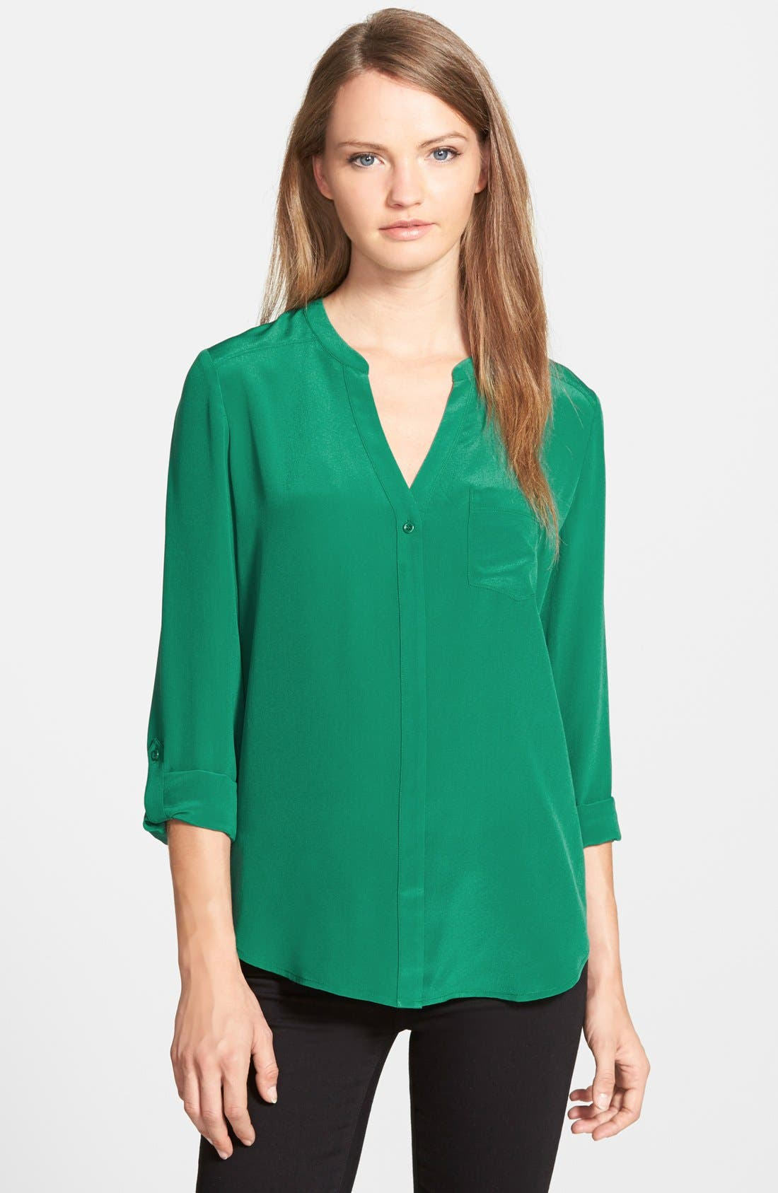 ,                             Collarless Silk Blouse,                             Main thumbnail 36, color,                             301