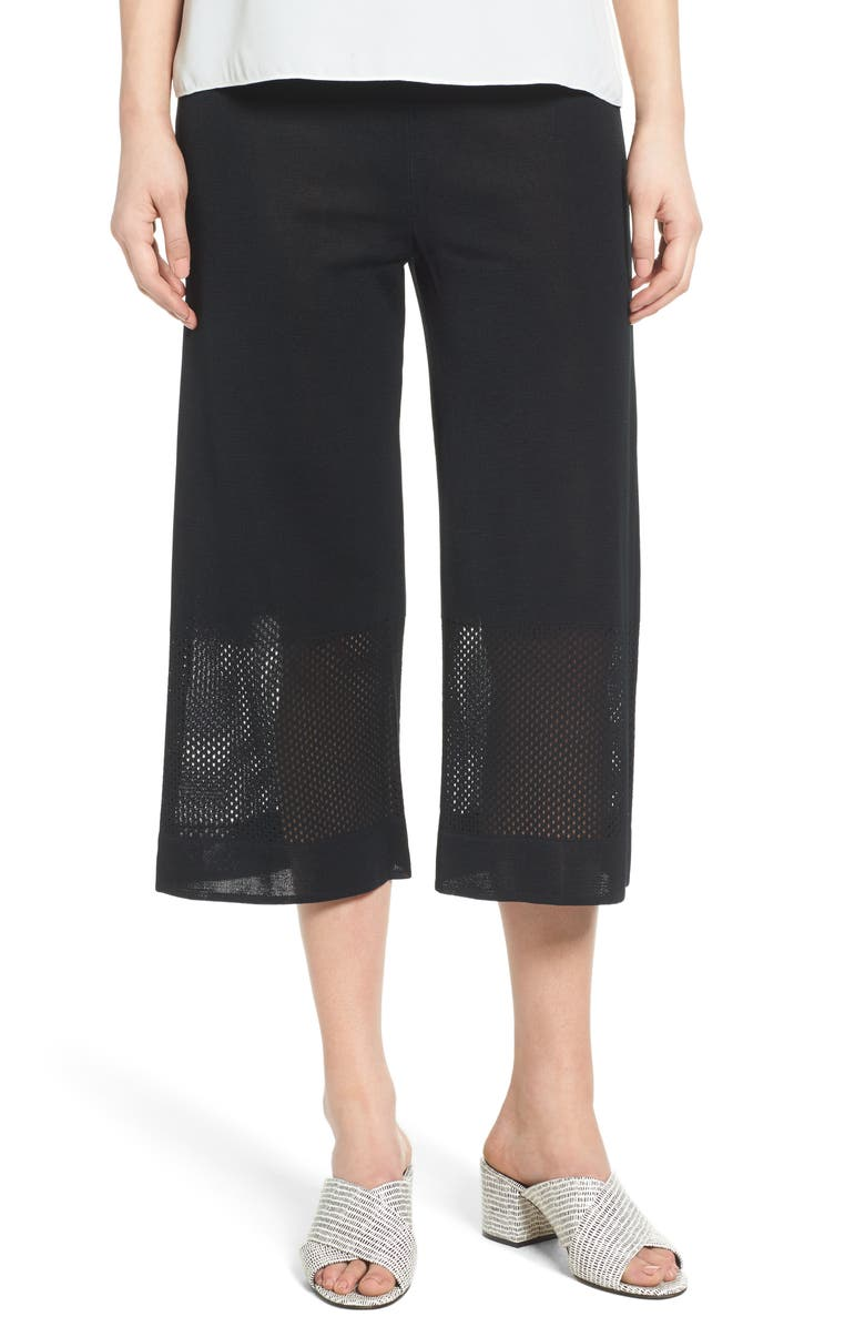 MING WANG Mesh Inset Crop Pants, Main, color, BLACK