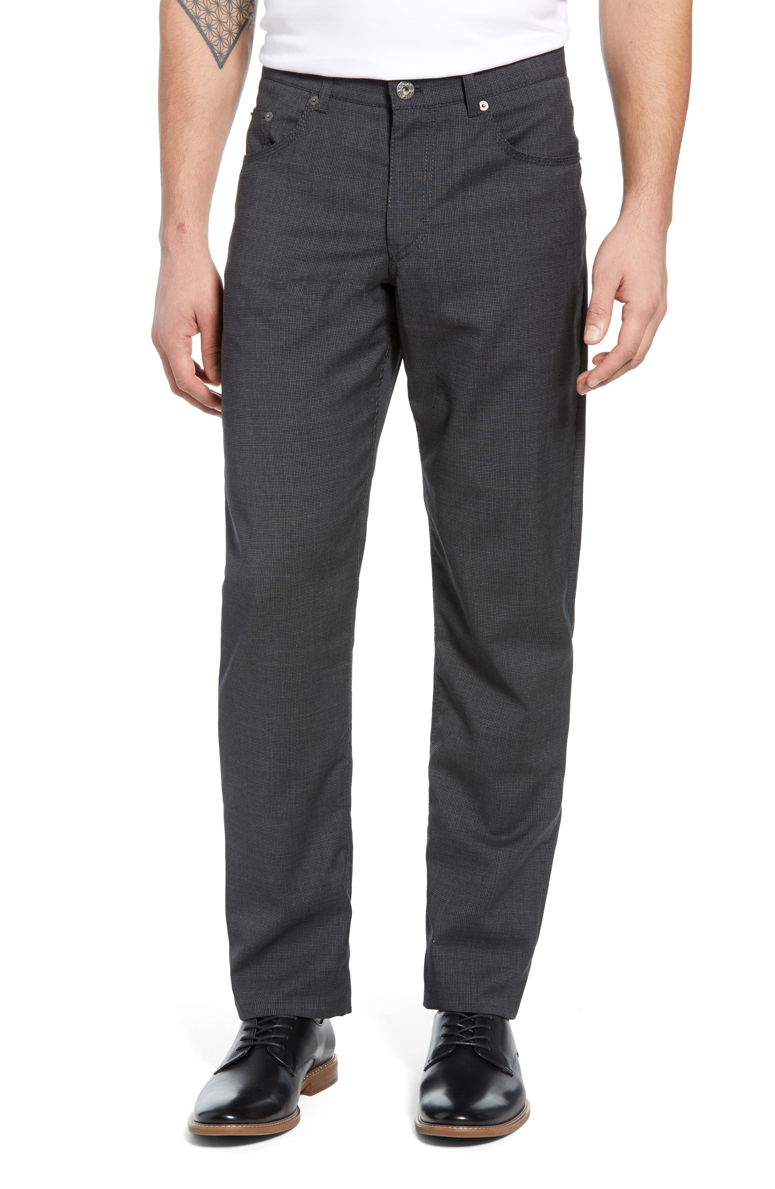 Image of Brax Cooper Five Pocket Straight Leg Houndstooth Stretch Wool Trousers