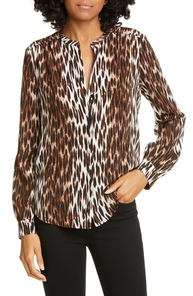 L'AGENCE Bardot Leopard Spot Band Collar Silk Blouse, Main, color, 002