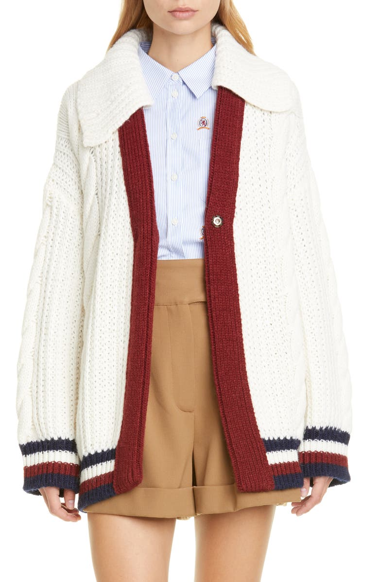 HILFIGER COLLECTION Cable Knit Cardigan, Main, color, 900
