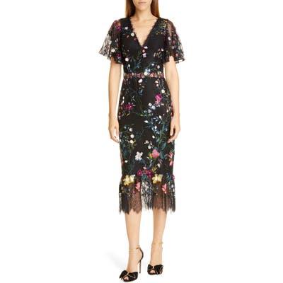 Marchesa Notte Embroidered Flutter Sleeve Lace Cocktail Dress, Black