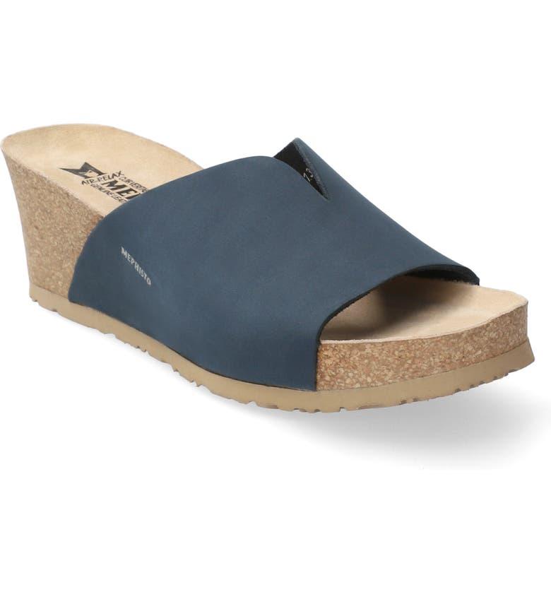 MEPHISTO Lisane Slide Sandal, Main, color, NAVY NUBUCK LEATHER