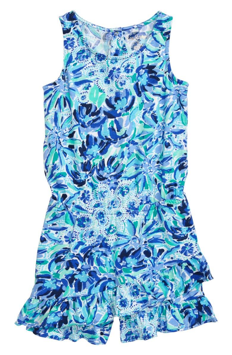 LILLY PULITZER<SUP>®</SUP> Venecia Romper, Main, color, IRIS BLUE HIGH MANETENANCE