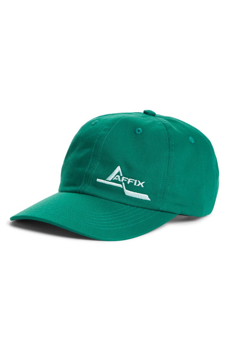AFFIX Foley Sequence Embroidered Logo Baseball Cap, Main, color, GREEN