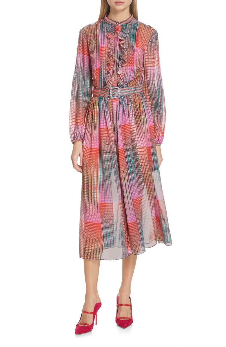 SALONI Raquel Belted Silk Midi Dress