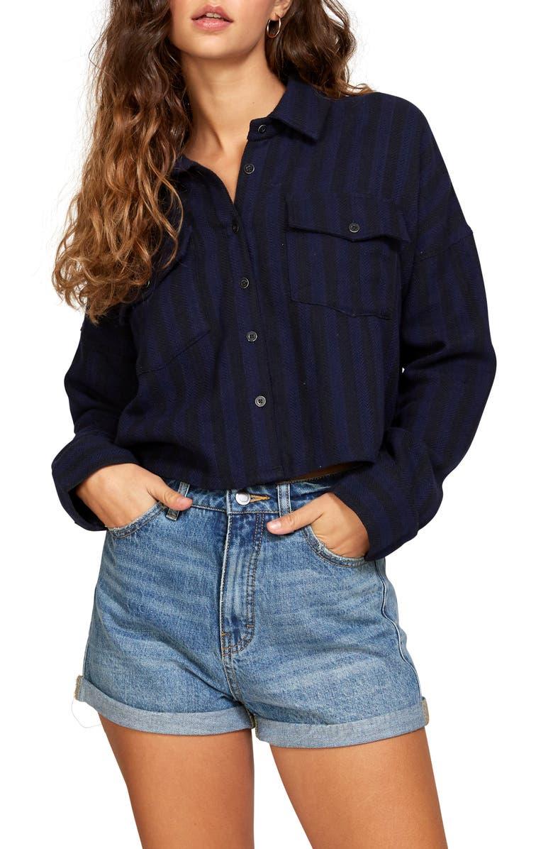 RVCA Vedder Stripe Crop Shirt, Main, color, NAVY