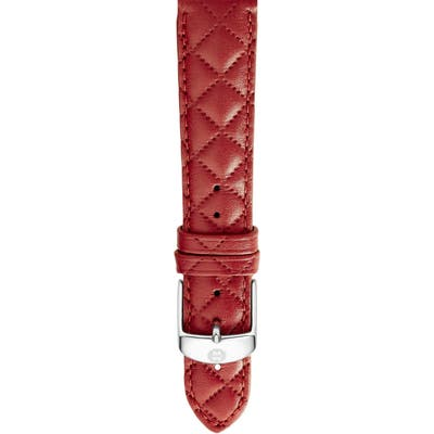 Michele 1m Quilted Leather Strap Watch