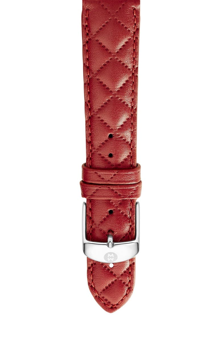 MICHELE 16mm Quilted Leather Strap Watch, Main, color, 600