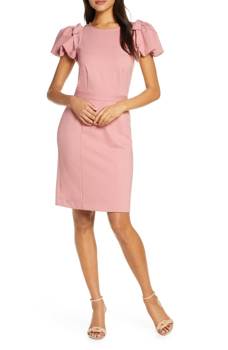 RACHEL PARCELL Bow Shoulder Detail Sheath Dress, Main, color, PINK COMPACT