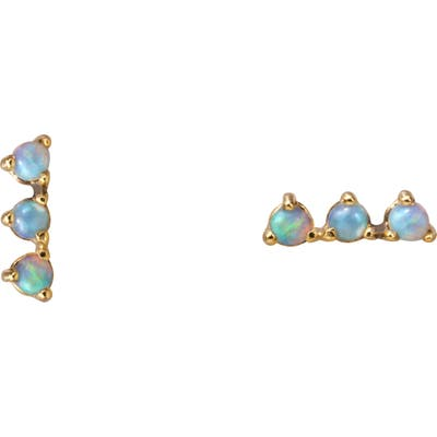 Wwake Counting Collection Three-Step Opal & Diamond Statement Earrings