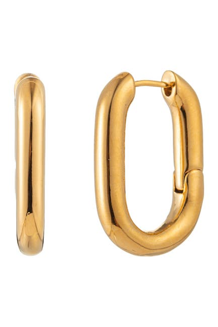 Image of Eye Candy Los Angeles Square Huggie 24K Gold Plated Brass Earrings