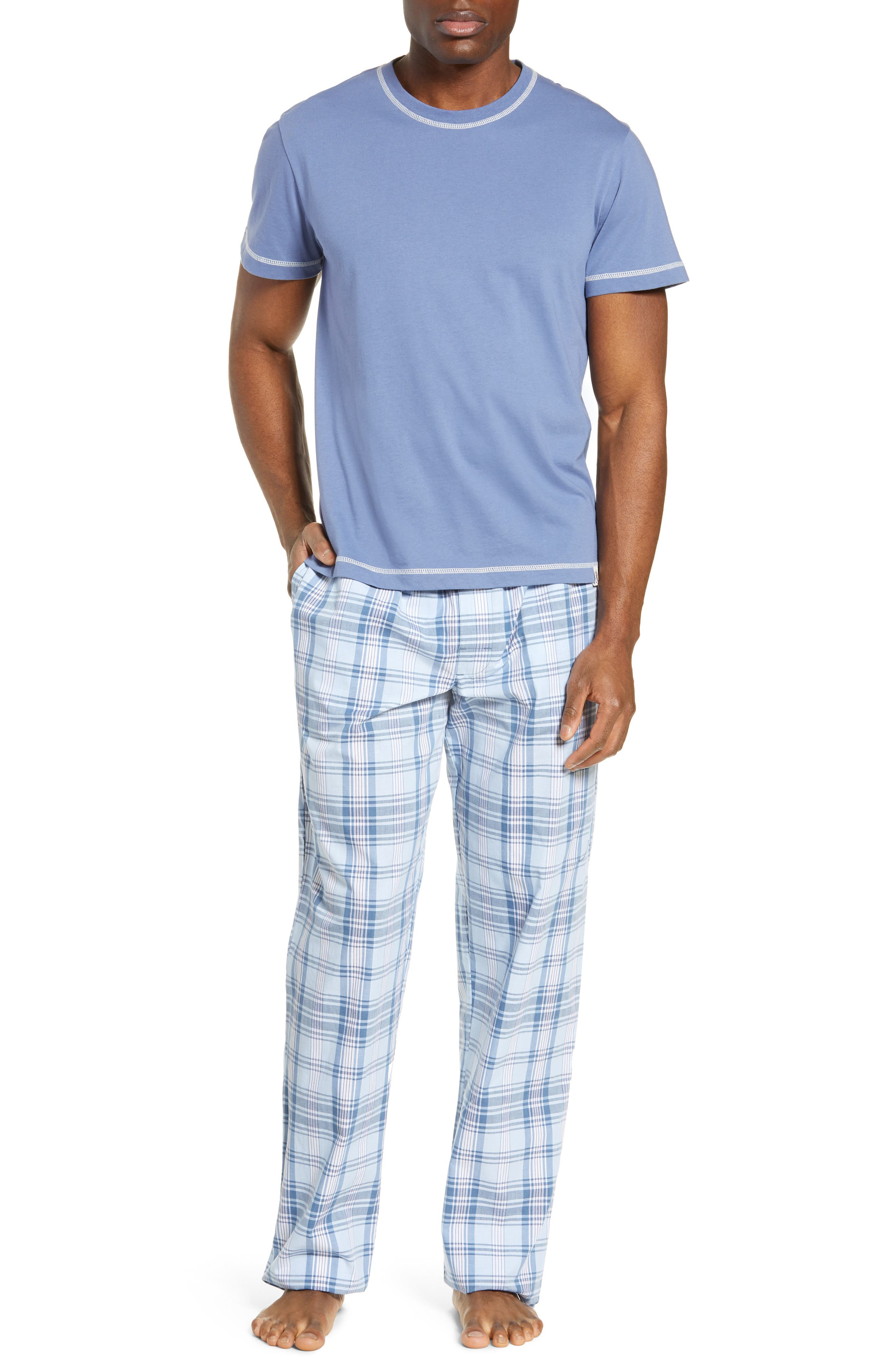 Majestic International Check Mates Pajamas, Blue