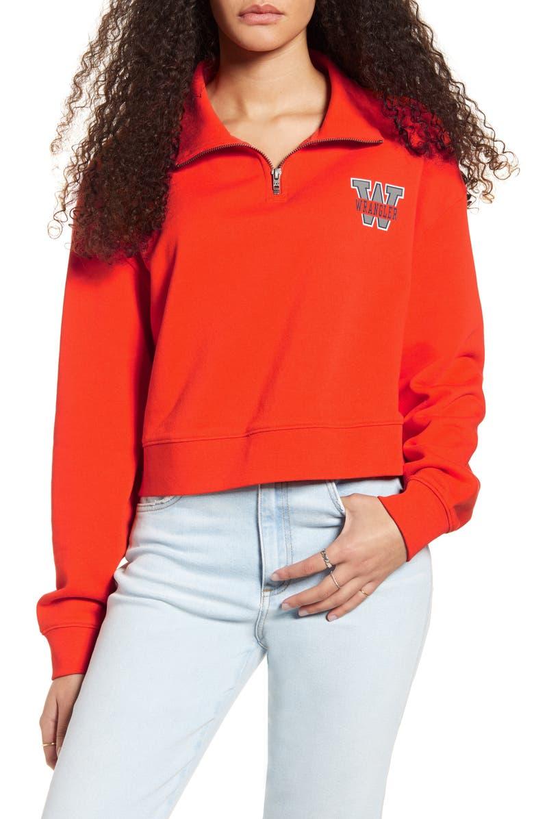 WRANGLER Logo Quarter Zip Crop Sweatshirt, Main, color, TANGO ORANGE