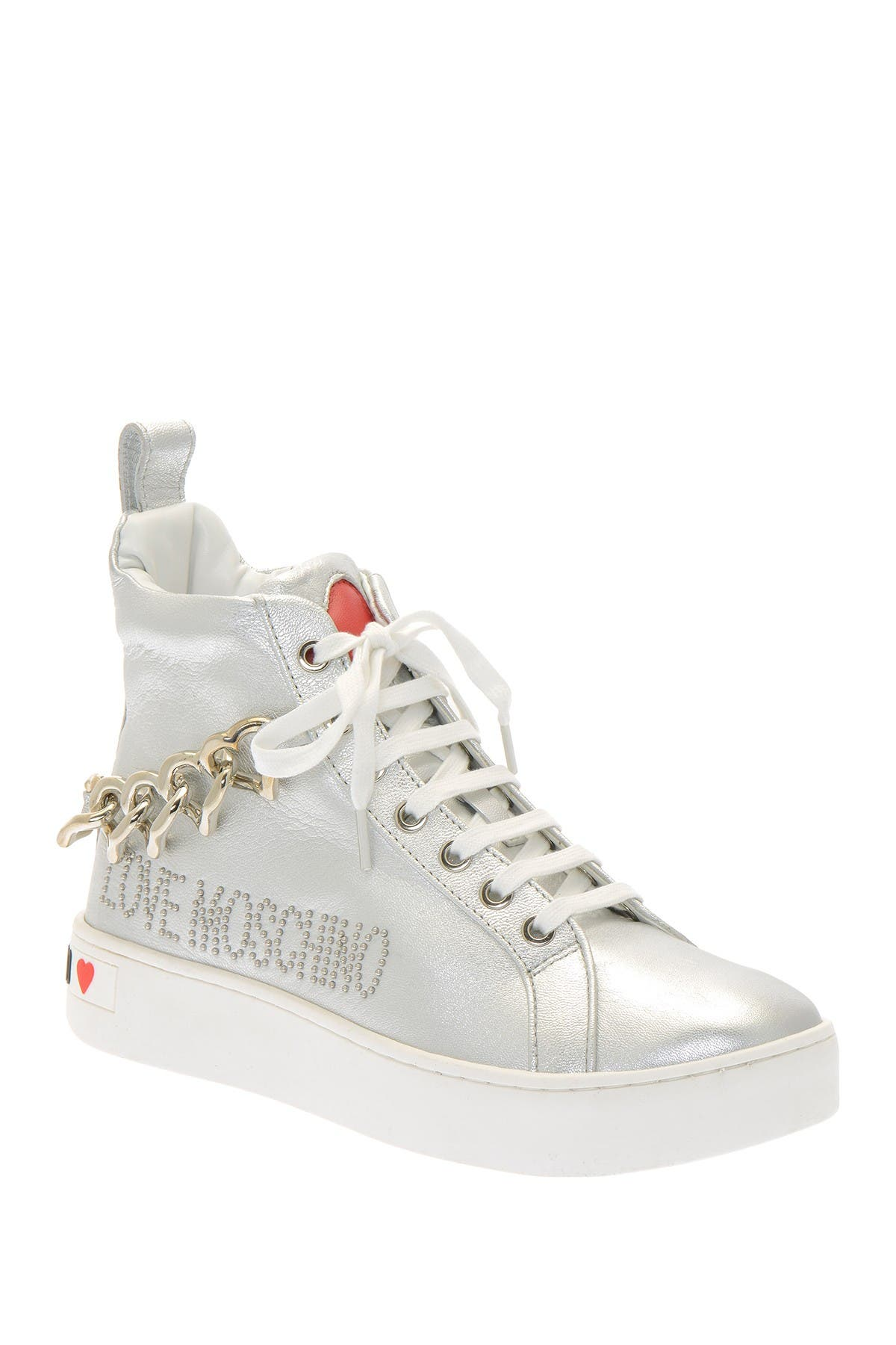 Image of LOVE Moschino Chain Heart Hight Top Sneaker