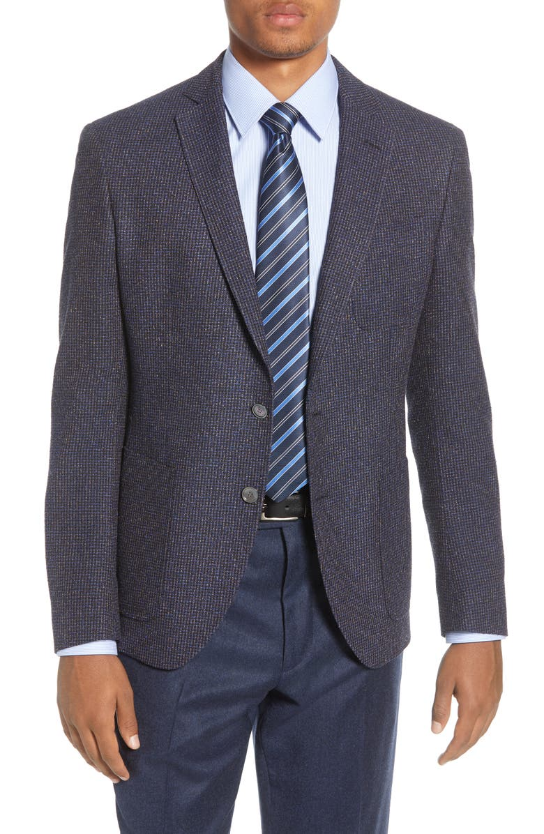BOSS Raye Trim Fit Check Sport Coat, Main, color, 417