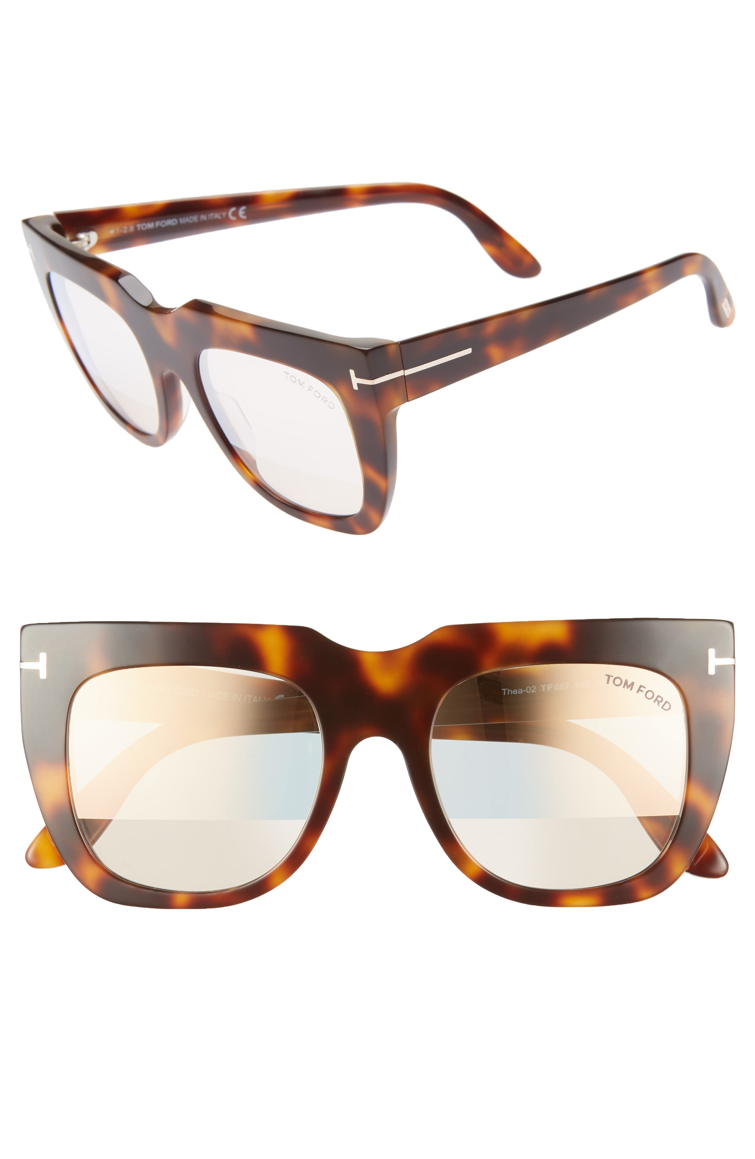 Tom Ford Thea 51Mm Mirrored Cat Eye Glasses - Shiny Havana/ Pink Gold/ Clear