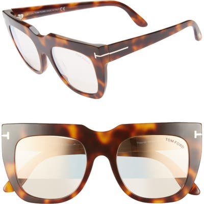 Tom Ford Thea 51Mm Mirrored Cat Eye Sunglasses - Shiny Havana/ Pink Gold/ Clear