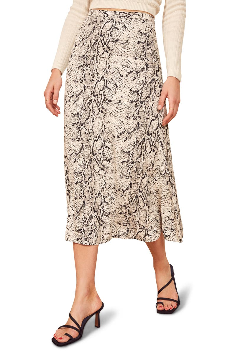 REFORMATION Bea Midi Skirt, Main, color, RATTLESNAKE