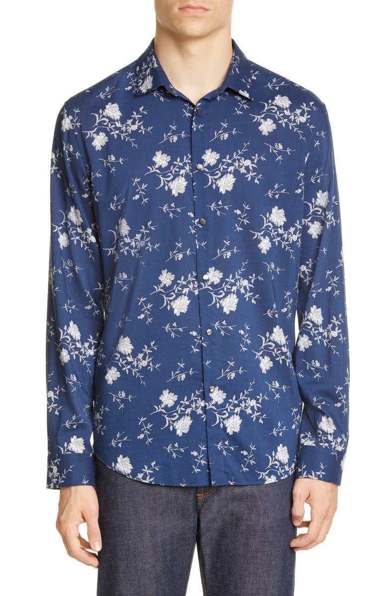 JOHN VARVATOS Slim Fit Floral Button-Up Shirt, Main, color, NAVY