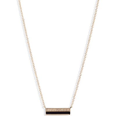 Ef Collection Mini Diamond & Enamel Bar Pendant Necklace