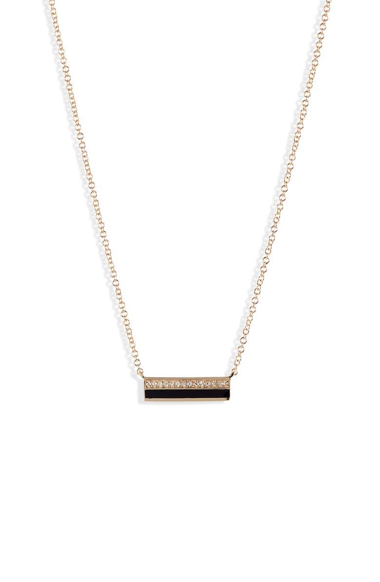 EF COLLECTION Mini Diamond & Enamel Bar Pendant Necklace, Main, color, YELLOW GOLD/ BLACK/ DIAMOND