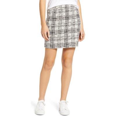 Lou & Grey Plaid Textured Skirt, Grey