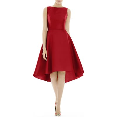 Alfred Sung High/low Satin Twill Cocktail Dress, Red