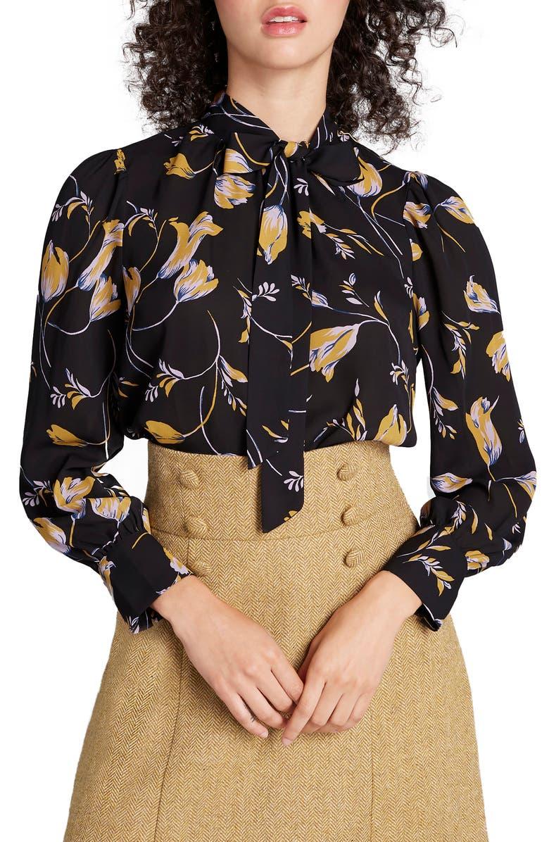 MODCLOTH Tie Neck Long Sleeve Blouse, Main, color, BLACK PRINT