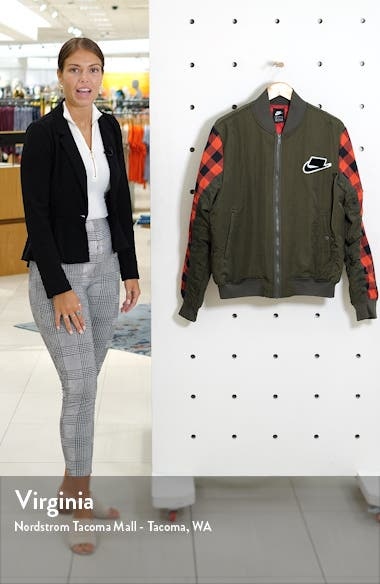Sportswear Buffalo Check Synthetic Fill Bomber Jacket, sales video thumbnail