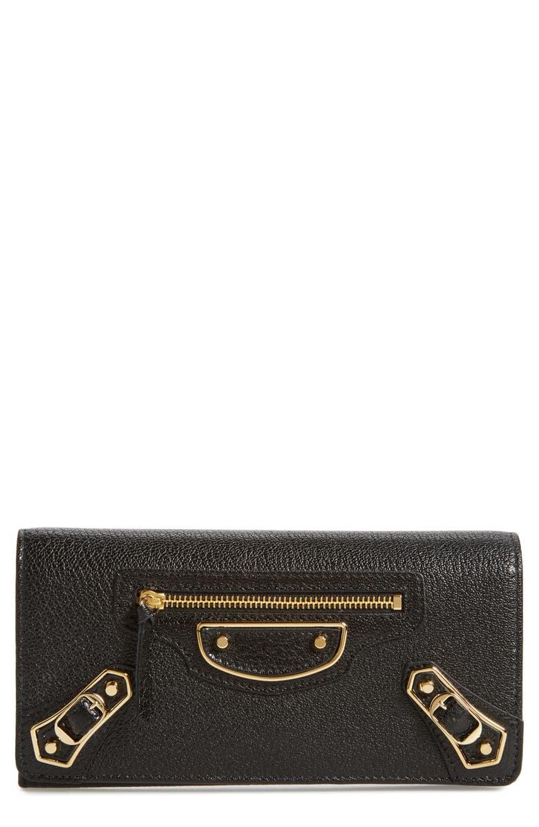 BALENCIAGA Metallic Edge Leather Wallet, Main, color, NOIR
